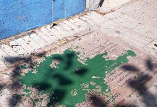 Baldosa vandalizada
