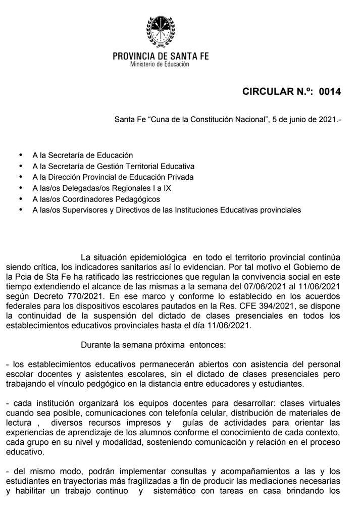 circular 14 Educación